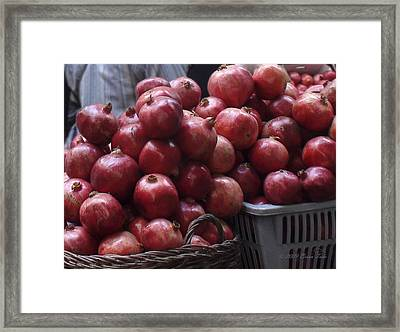 Pomegranates At Jerusalem's Old City Market Framed Print by Brian Tada