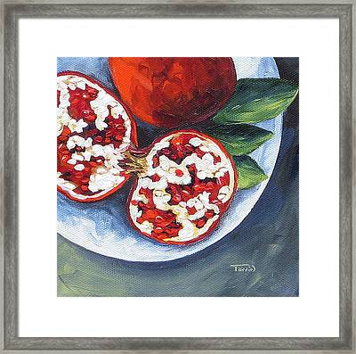 Pomegranates On A Plate  Framed Print by Torrie Smiley