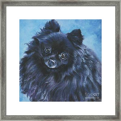 Pomeranian Black Framed Print by Lee Ann Shepard