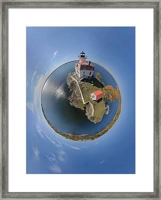 Pomham Rocks Lighthouse Little Planet Framed Print by Christopher Blake