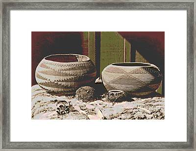 Pomo Baskets And Magnesite Beads Framed Print by Padre Art