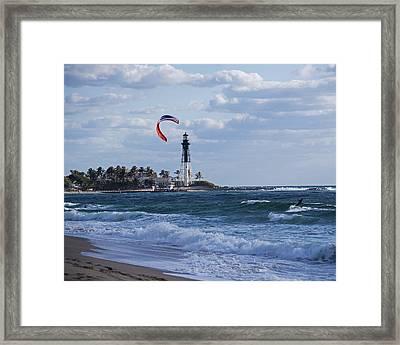 Pompano Beach Kiteboarder Hillsboro Lighthouse Framed Print by Toby McGuire