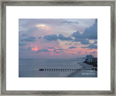 Pompano Pier At Sunset Framed Print