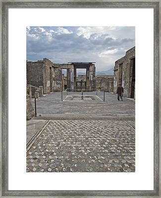 Pompeii View With Mosaic Framed Print