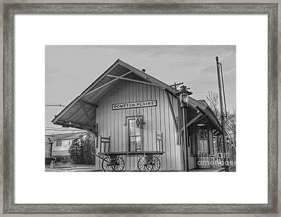 Pompton Plains Railroad Station And Baggage Cart Framed Print