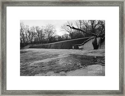Falling Water On The Pompton Spillway In Winter Framed Print