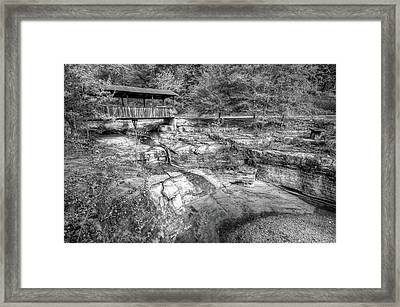 Ponca Arkansas Covered Bridge - Black And White Framed Print