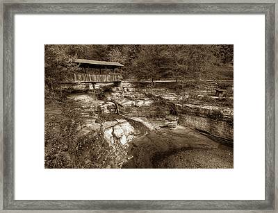 Ponca Arkansas Covered Bridge In Sepia Framed Print