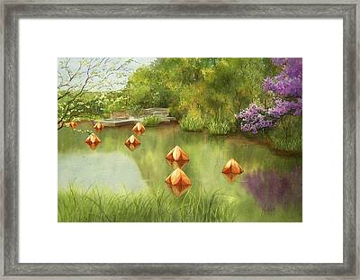 Pond At Olbrich Botanical Garden Framed Print