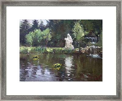 Pond At Our Lady Of Fatima Lewiston Framed Print by Ylli Haruni