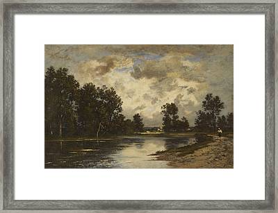 Pond At The Edge Of The Forest Framed Print