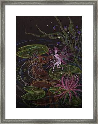 Framed Print featuring the drawing Pond Dragon by Dawn Fairies