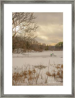 Pond Hockey At Durand Framed Print by Ken Marsh