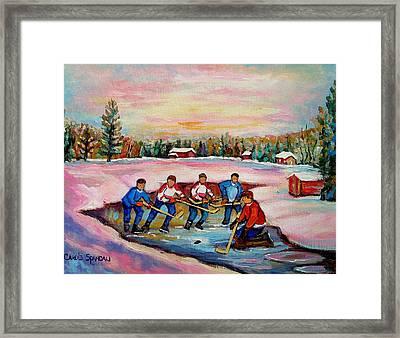 Pond Hockey Warm Day Framed Print