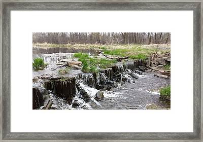 Pond Mini Waterfall Framed Print by Marlena  Ross