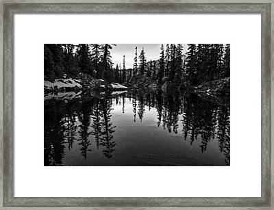 Pond On The Pacific Crest Trail Black And White Framed Print