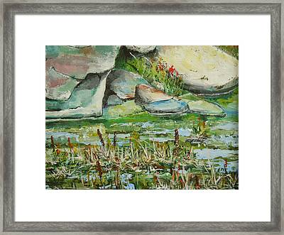 Framed Print featuring the painting Pond Shadows And Reflections by Dan Whittemore