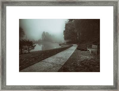 Pond Walk In Black And White Framed Print