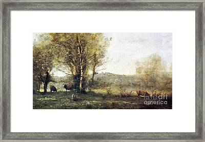 Pond With Three Cows Framed Print by MotionAge Designs