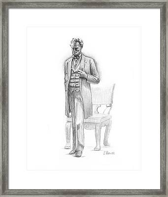 Framed Print featuring the drawing Pondering Lincoln by Joe Winkler