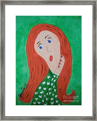 Pondering Redhead Framed Print by Jeannie Atwater Jordan Allen