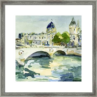 Pont De Change Watercolor Paintings Of Paris Framed Print