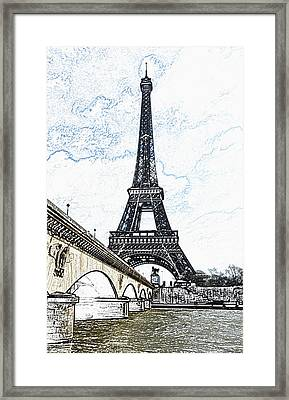 Pont D'lena Bridge Leading To The Eiffel Tower Paris France Colored Pencil Digital Art Framed Print by Shawn O'Brien