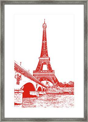 Pont D'lena Bridge Leading To The Eiffel Tower Paris France Red Stamp Digital Art Framed Print by Shawn O'Brien