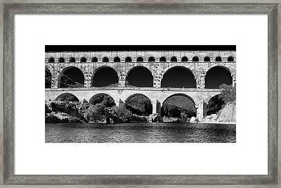 Framed Print featuring the photograph Pont Du Gard Panorama by Richard Goodrich