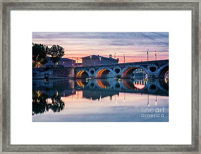 Framed Print featuring the photograph Pont Neuf In Toulouse At Sunset by Elena Elisseeva