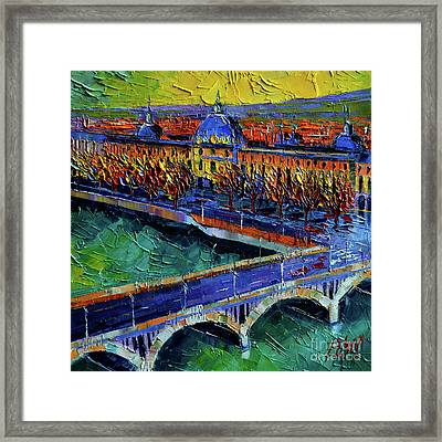 Pont Wilson And Hotel Dieu De Lyon By Mona Edulesco Framed Print