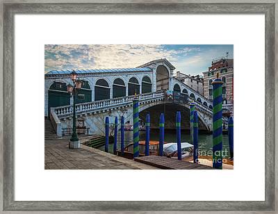 Ponte Rialto Dawn Framed Print by Inge Johnsson