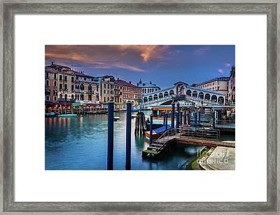 Ponte Rialto Evening Framed Print by Inge Johnsson