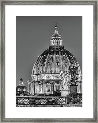 Ponte Sant Angelo And St. Peter's Basilica Framed Print