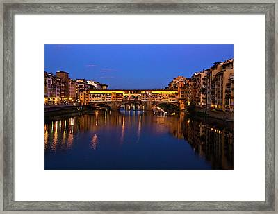Framed Print featuring the photograph Ponte Vecchio Dusk  by Harry Spitz