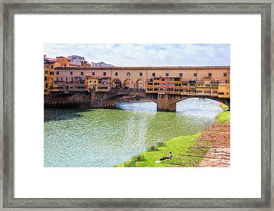 Ponte Vecchio Florence Italy II Painterly Framed Print by Joan Carroll