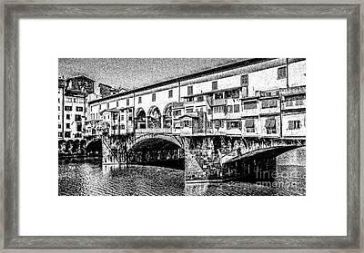 Ponte Vecchio Florence Sketch Framed Print by Edward Fielding