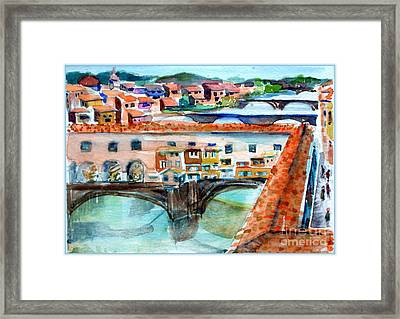 Ponte Vecchio Framed Print by Mindy Newman