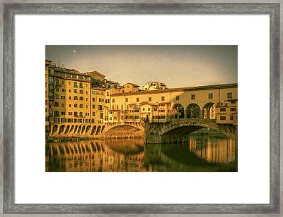 Framed Print featuring the photograph Ponte Vecchio Morning Florence Italy by Joan Carroll