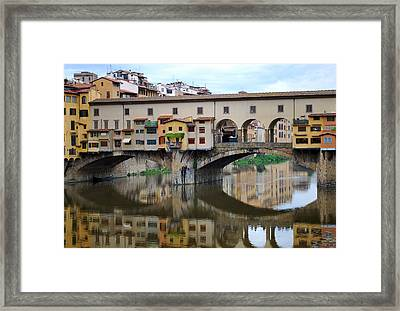 Ponte Vecchio Reflects. Framed Print by Terence Davis