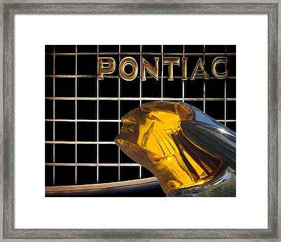 Pontiac Chieftain Hood Ornament And Grille Framed Print by Mitch Spence