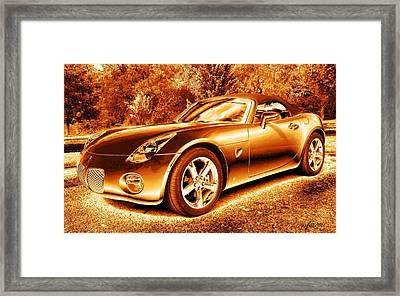 Framed Print featuring the digital art Pontiac Solstice Gxp In Gold by Maciek Froncisz