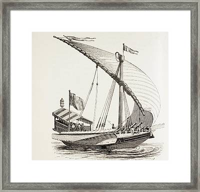 Pontifical Galley With Sails, Oars And Framed Print