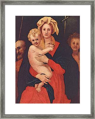 Pontormo Jacopo Madonna And Child With St Joseph And Saint John The Baptist Framed Print