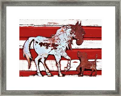 Pony And Pup Framed Print by Larry Campbell