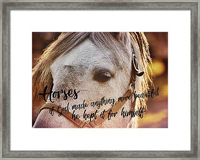Pony At Sunset Quote Framed Print by JAMART Photography