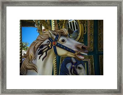 Pony Carrsouel Portrait Framed Print by Garry Gay