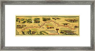 Pony Express Map Framed Print by Pg Reproductions