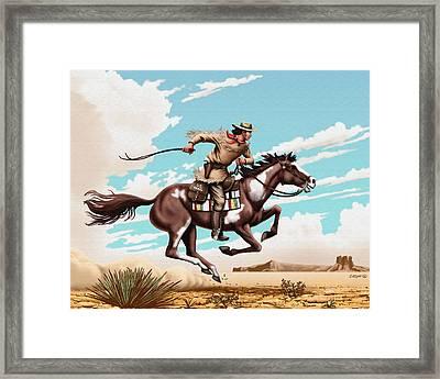 Pony Express Rider Historical Americana Painting Desert Scene Framed Print by Walt Curlee