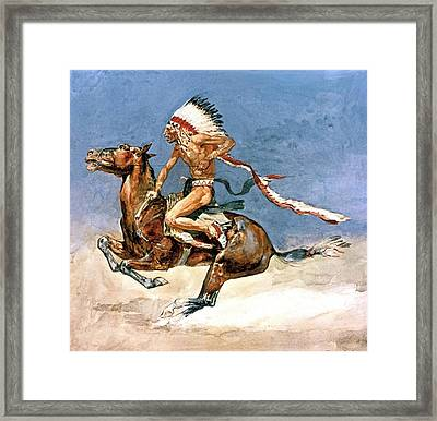 Pony War Dance Framed Print by Frederic Remington